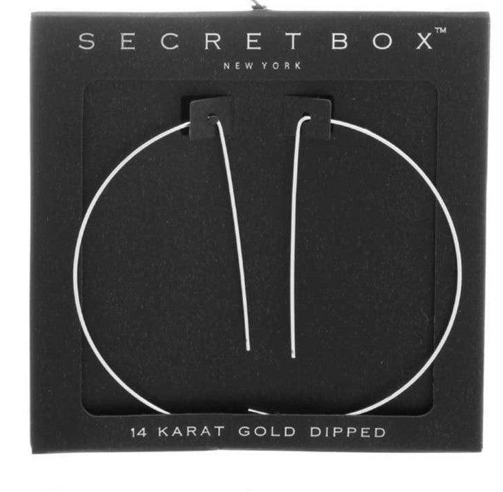 Simple half-moon hoop-style earrings, 24 Karat White Gold Dipped