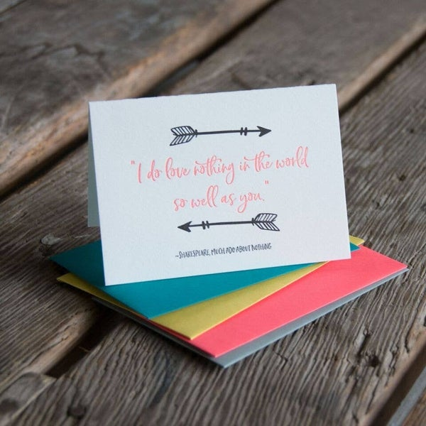 """Shakespeare """"I do love nothing in the world so well as you"""" - Love Card"""