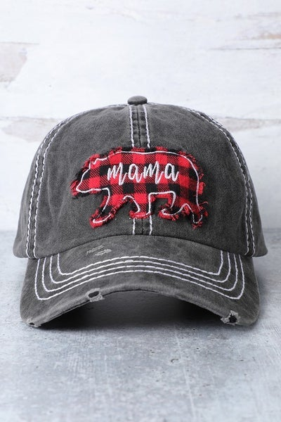 Mama Bear patch distressed cap