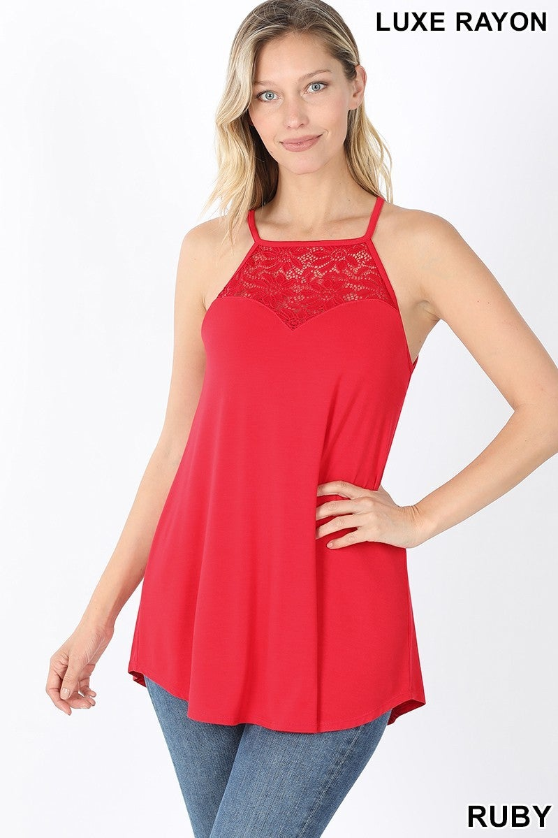 Lace-paneled sleeveless high-halter top