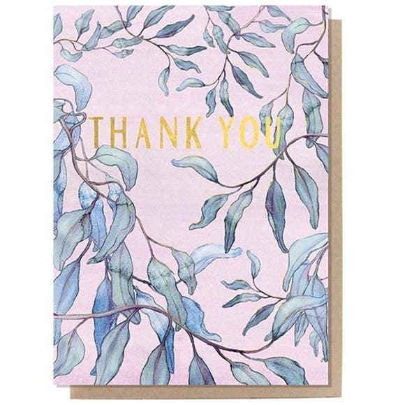 """""""Thank You"""" Eucalyptus card : Papaya"""