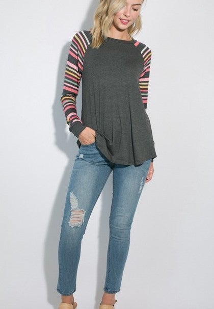 Multi-stripe long sleeve top