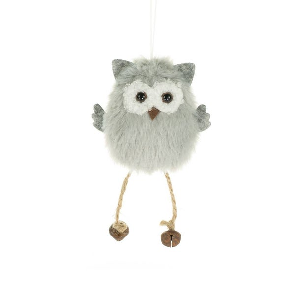 """Owl Ornament with hanging bell legs 5.25"""""""