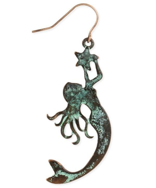 Magical mermaid patina earrings