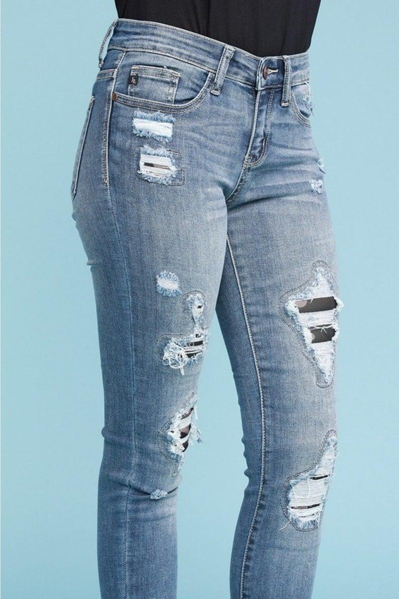 Judy Blue camo patch skinny jeans