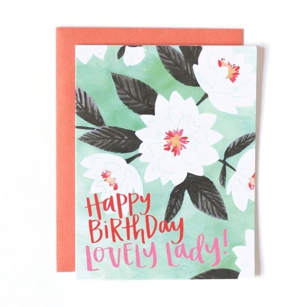 """Happy Birthday Lovely Lady"" Greeting Card"
