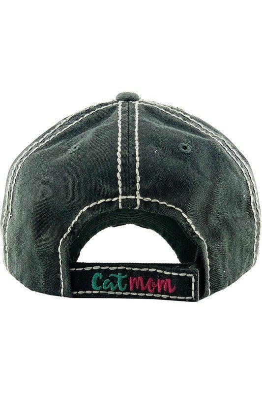 'Cat Mom' distressed hat