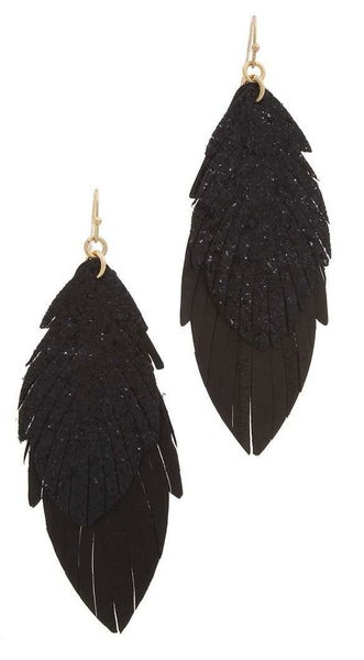 Leather faux feather glitter dangle earrings