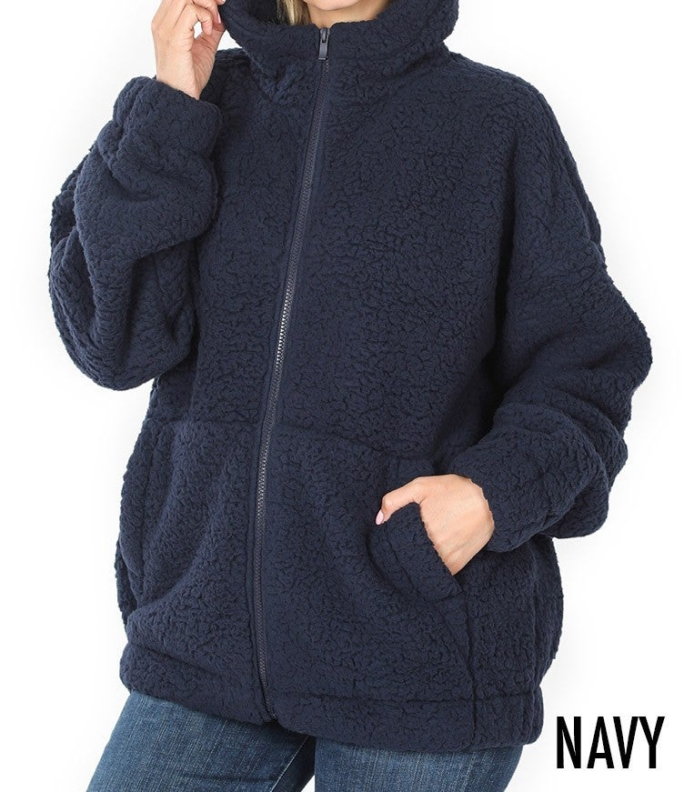 Baby It's Cold Outside sherpa hoodie jacket with zipper *Final Sale*