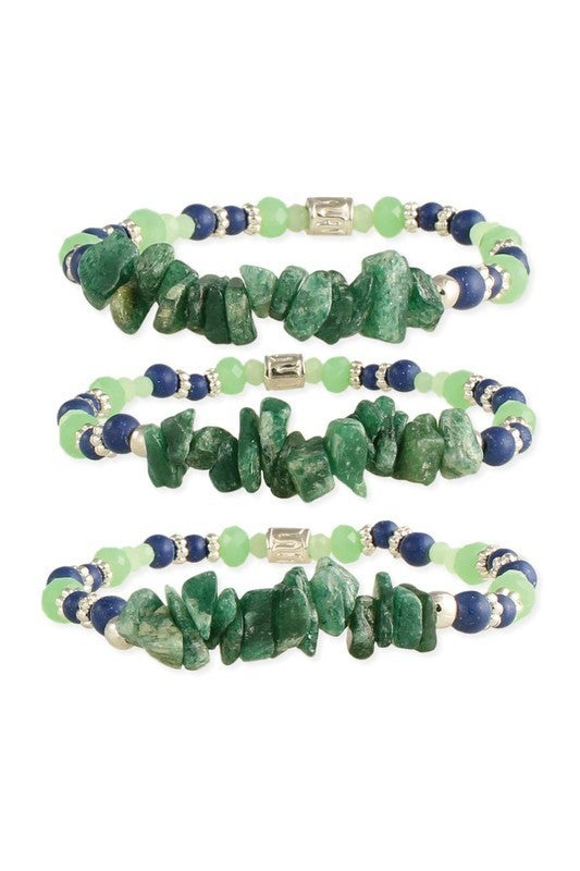 Amethyst and glass green/blue beaded bracelet trio