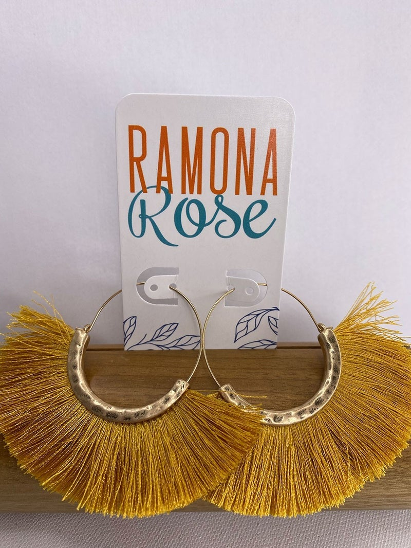 Gold hoop black tassel earrings