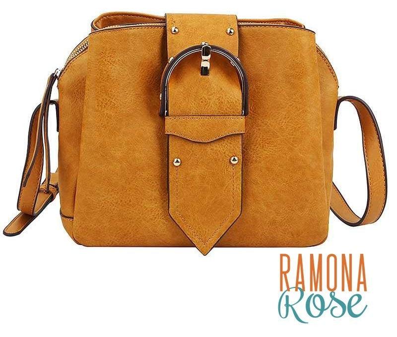 Trendy large buckle crossbody bag