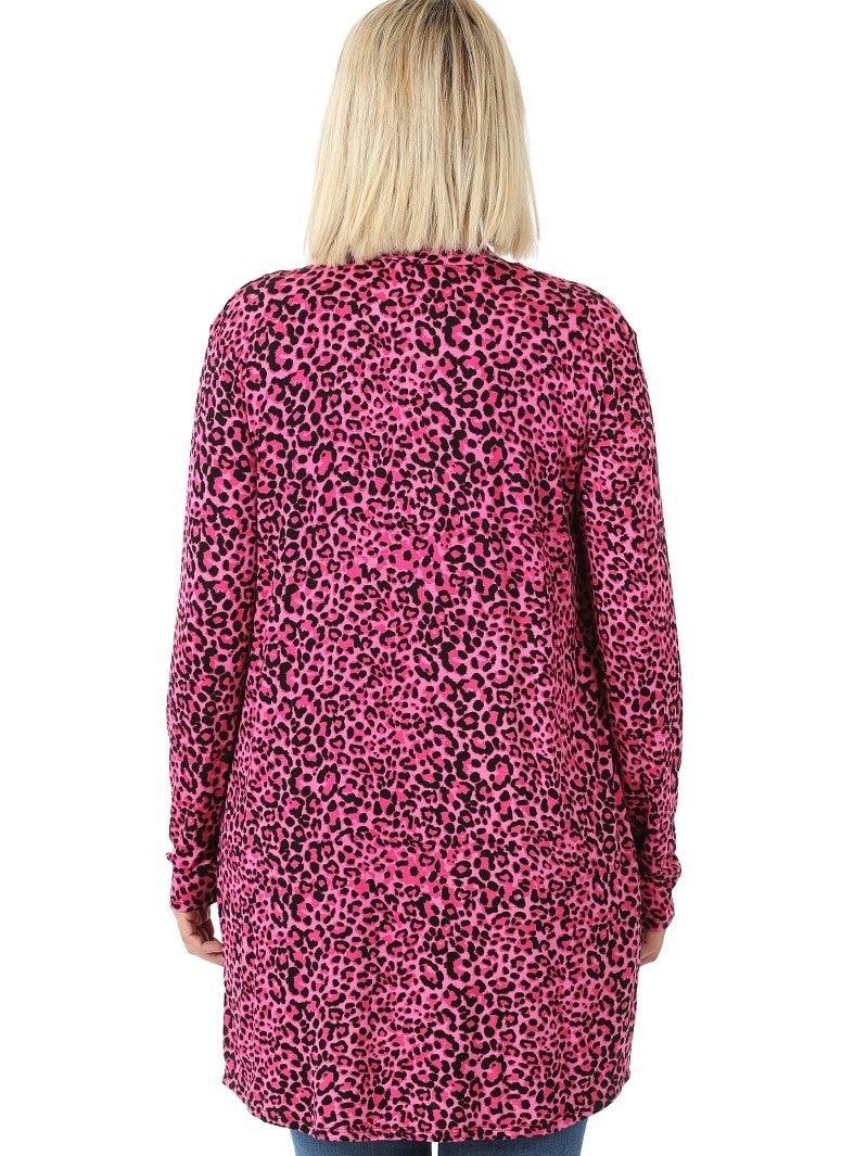 Pink Leopard Slouchy Pocket Cardigan