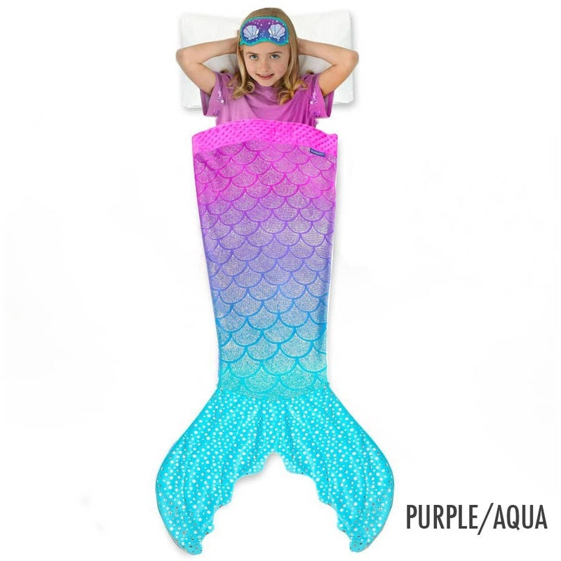 Glittertail Mermaid Blanket with bonus Sleep Mask included