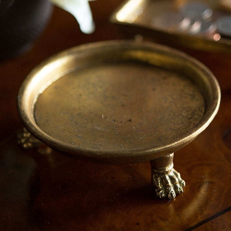 Round Pewter Claw Foot Dish in Gold Leafing