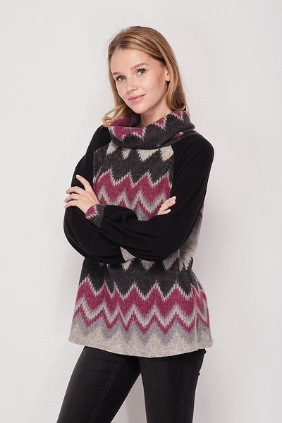 Cozy cowl aztec sweater top