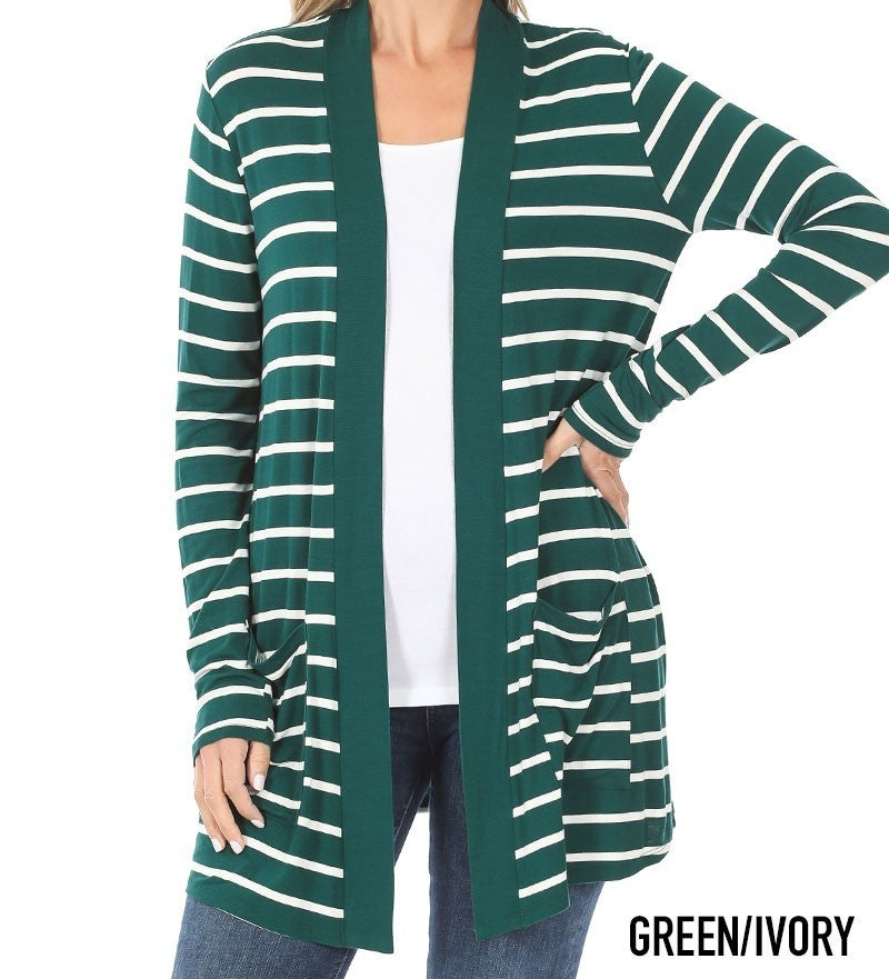 Striped Slouchy Pocket Cardigan