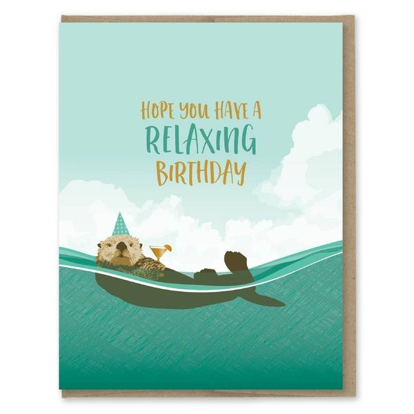 Otter Relaxing with Martini birthday card