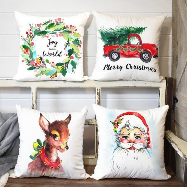 Holiday watercolor pillow covers
