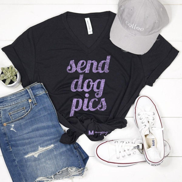 'Send Dog Pics' v-neck tee