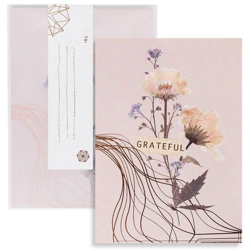 """""""Grateful"""" greeting card : Papaya"""