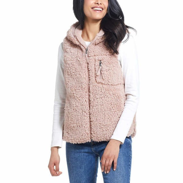 Dusty rose hooded sherpa vest