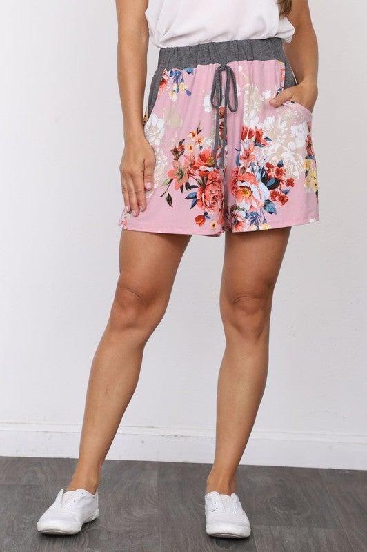 Summer Floral Drawstring Shorts