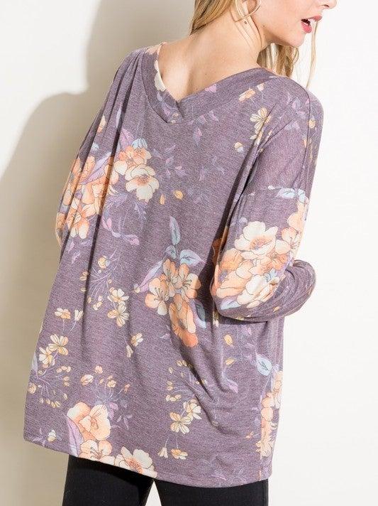Wide v-neck floral long sleeve top