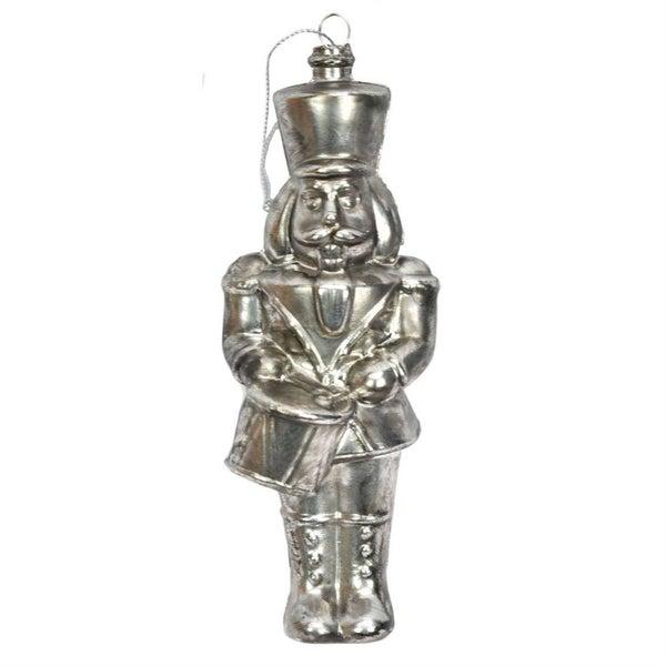 Retro pewter-colored drummer boy ornament