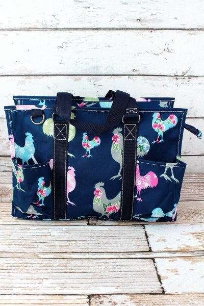 Floral Chicken Large Utility Tote