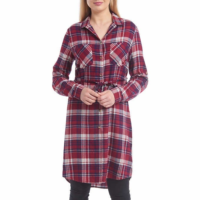 """Fall for It"" Flannel Shirt Dress"