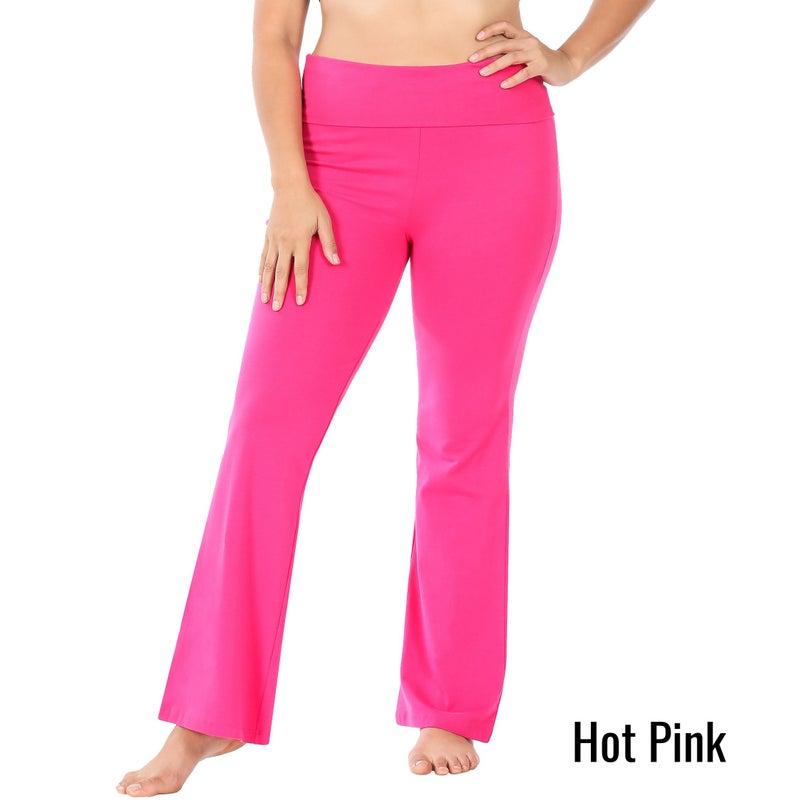 Cotton Fold-Over Yoga Flare Pants