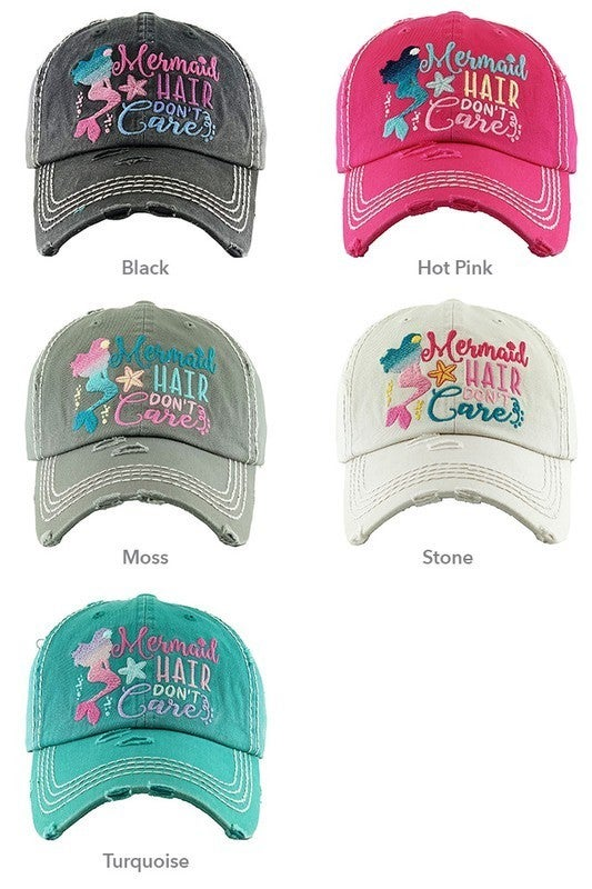 'Mermaid Hair Don't Care' distressed hat