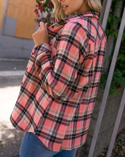 Checker plaid fleece lined flannel shirt