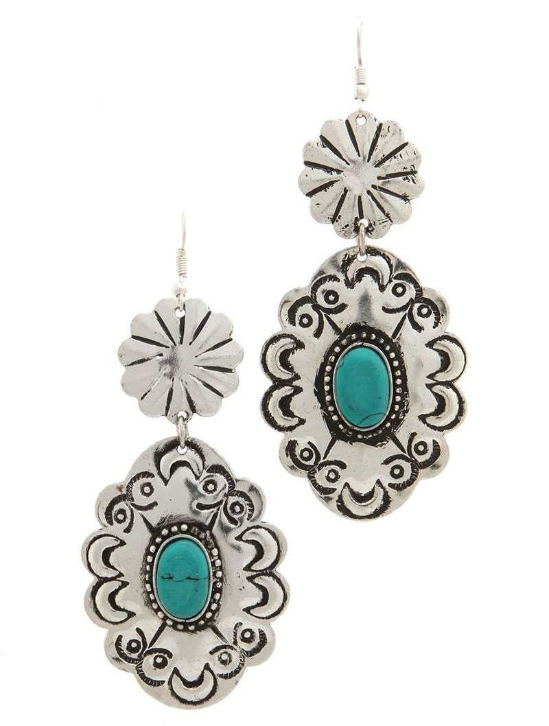 Turquoise and metal moroccan shade drop earrings