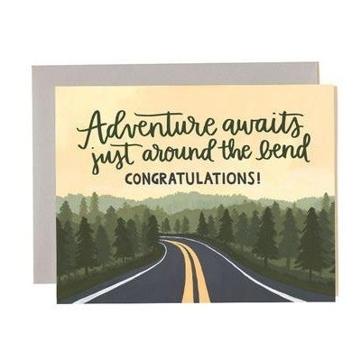 """""""Adventure Awaits Just Around the Bend, Congratulations"""" Greeting Card"""