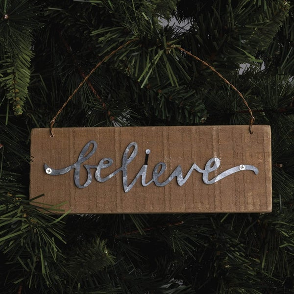 'Believe' Wood Ornament/Sign : Primitives by Kathy