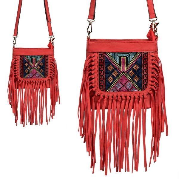 Aztec-inspired embroidered crossbody bag *Final Sale*
