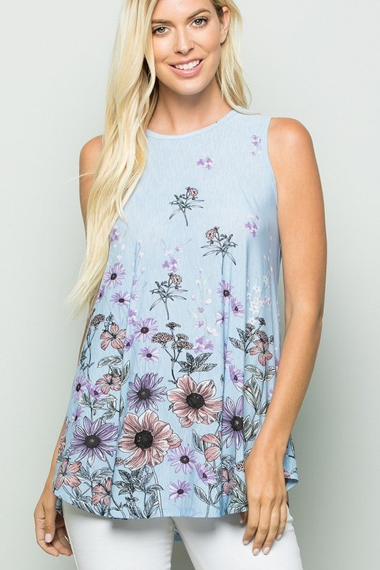 Summer floral print swing top