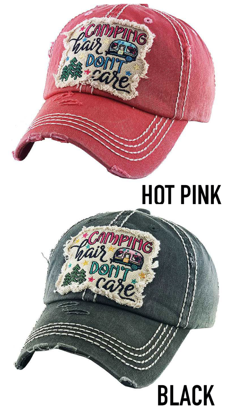 Camping Hair Don't Care patched distressed trucker hat