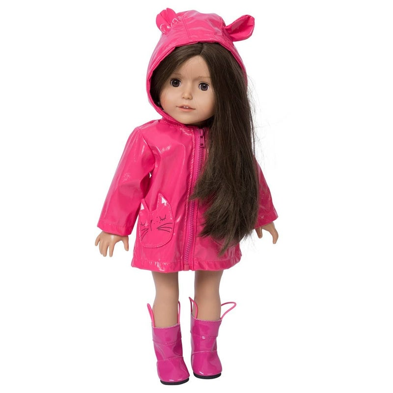 18-in Doll Pink Raincoat with Boots