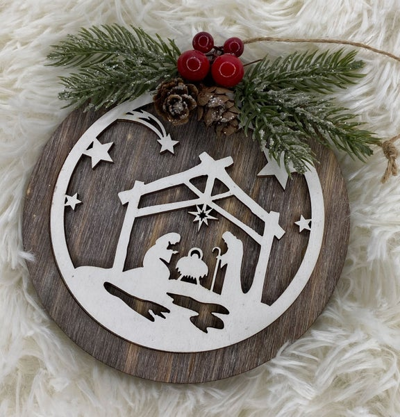Round Nativity Wooden Ornament