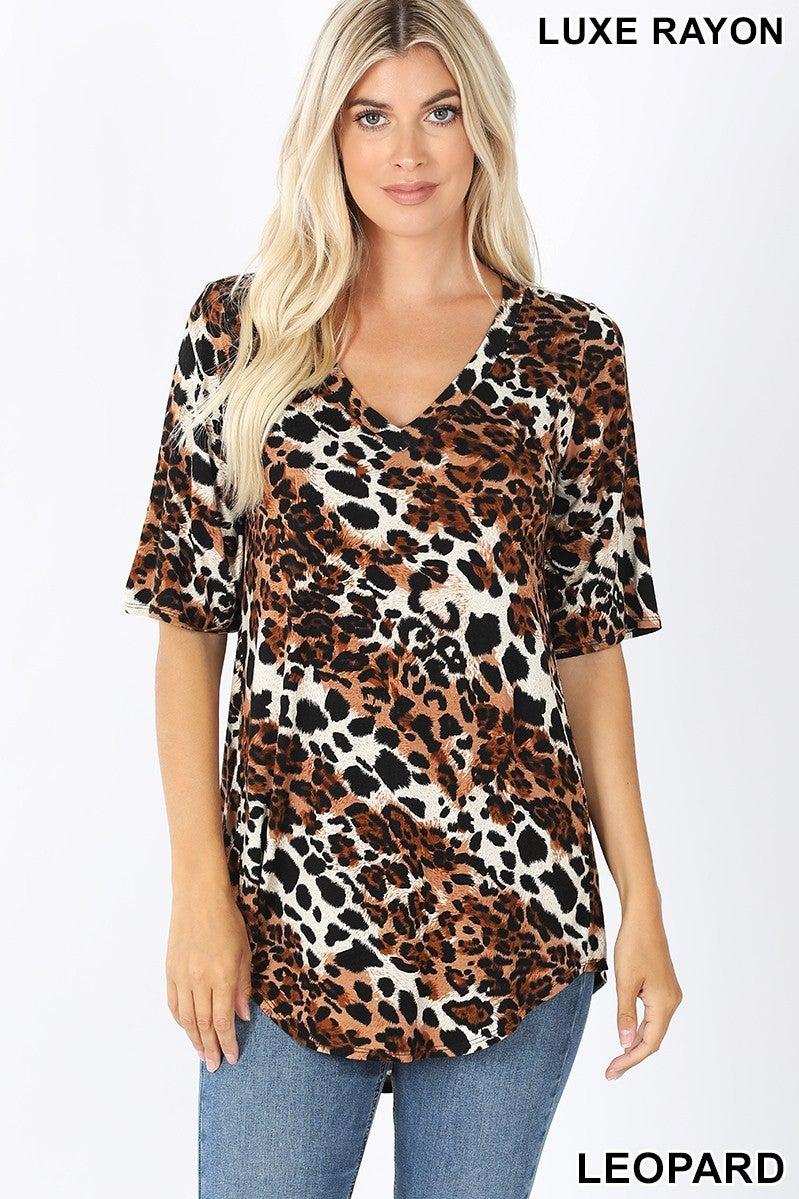 Leopard print short sleeve top