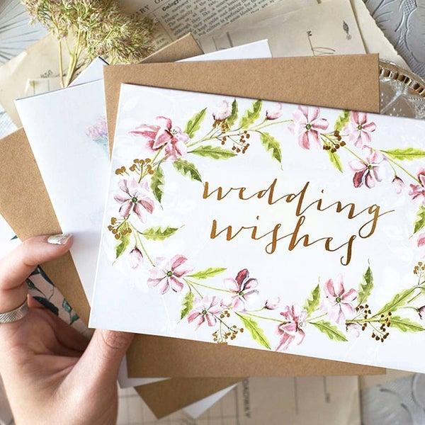 """Wedding Wishes"" greeting card : Papaya"