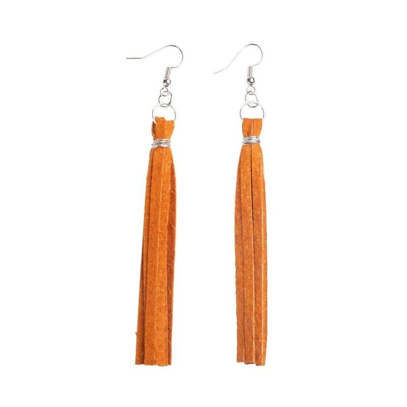 Tassel Fringe Leather Earrings : Repurposed on Purpose