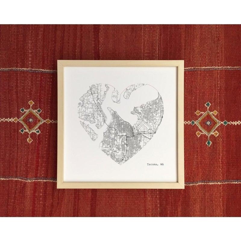"12"" x 12"" PNW City Heart Map Art Prints"