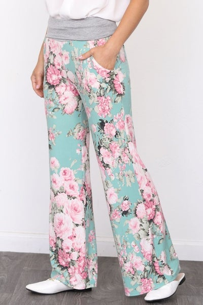 Summer floral wide leg lounge pants