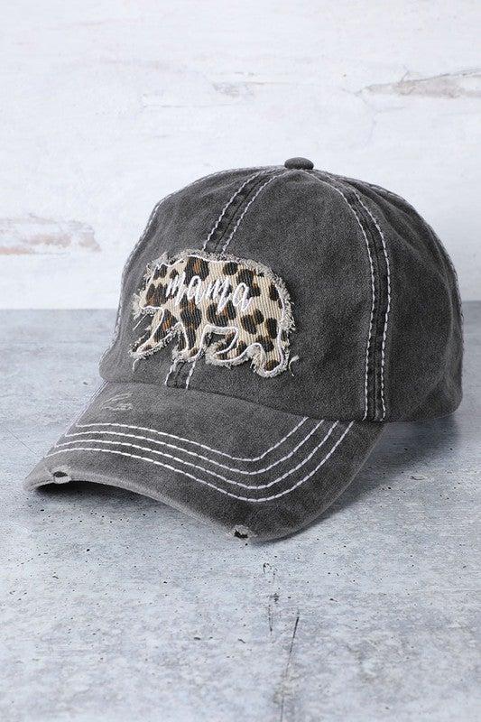 Mama Bear patch distressed cap