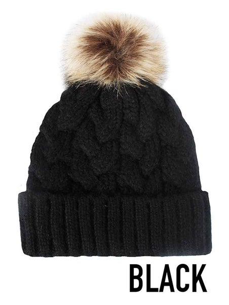 Braided Knit Beanie with Faux Fur Pom