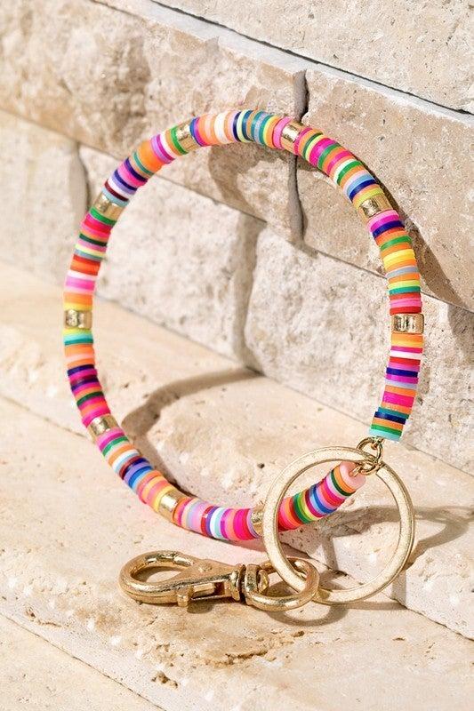 Boho multi-color key ring bracelet